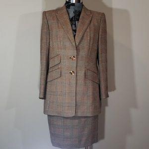 New Escada 2 piece suit wool blazer and skirt set